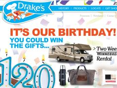 Enter the Drake's 120th Anniversary Sweepstakes for a chance to win a 2-week Winnebago Road Trip, and a $120 Visa Gift Card!