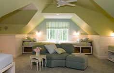 Country Cottage Style Home – Second story bunk room with 6 twin beds for grandchildren Bonus Room Design, Attic Design, New England Cottage, Coastal Bedrooms, Cottage Style Homes, Attic Spaces, Attic Rooms, Bonus Rooms, Contemporary Bedroom