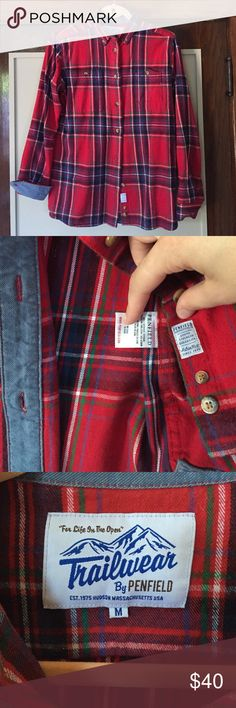 Madewell x Penfield Trailblazer Plaid A great substantial fall and winter plaid button up. Awesome details - denim trim, tortoiseshell buttons. Like new condition. Madewell Tops