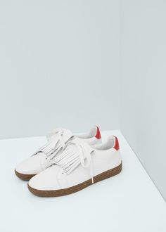MANGO - Fringed leather sneakers