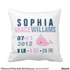 Whimsical Whale Baby Girl Birth Announcement Pillow. Would be adorable for a nautical themed nursery in navy blue and pink.