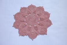 Peach crochet doily 14 inches Lace crochet by CrochetedCosiness