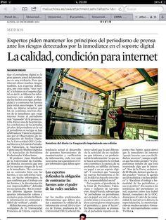 La calidad, condición para Internet. En LA VANGUARDIA, tras jornada de periodismo digital en Valencia