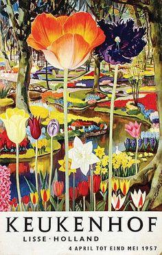 Keukenhof, Holland vintage tourism travel poster 1957  tulips