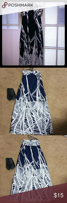 5ae26f2575 Loft maxi halter blue and white dress Ann Taylor Loft Great used condition  Size 6