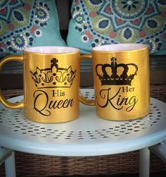His Queen Her King Mug set of 2 coffee mugs for husband and wifefast Shipping Gifts For Hubby, Gifts For Wife, Anniversary Boyfriend, Anniversary Gifts, Retirement Party Themes, Romantic Gifts For Her, Romantic Ideas, Name Mugs, Mugs Set