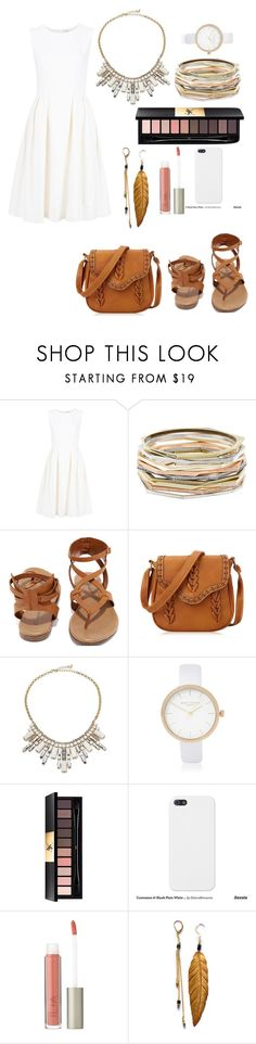 """""""White"""" by meen16 ❤ liked on Polyvore featuring ADAM, Kendra Scott, Breckelle's, ABS by Allen Schwartz, River Island, Yves Saint Laurent and Ilia"""