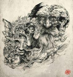 Brilliant Intricate Drawings of DZO Olivier Ink Illustrations, Illustration Art, Tattoo Drawings, Art Drawings, Geniale Tattoos, Arte Horror, Amazing Drawings, Pen Art, Tattoo Life
