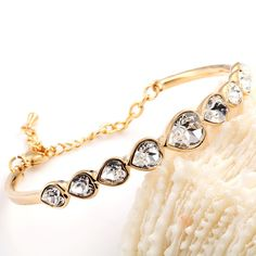 Heart Bangle Bracelet With Crystal