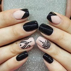 Incredible Combo French Tip Nails And Mandala Art ❤️Mandala nail art is intricate, popular and Bohemian that is why we invite you to have a closer look at our mandala nails designs collection!❤️ See more: naildesignsjourna. Hot Nails, Swag Nails, Hair And Nails, Black Nails, Pink Nails, Mandala Nails, French Tip Nails, French Manicure Nail Designs, Gel Nail Art Designs
