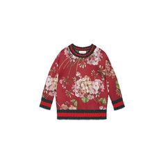 Blooms print jersey sweatshirt ($1,200) ❤ liked on Polyvore featuring tops, hoodies, sweatshirts, gucci, sweatshirt, jersey sweatshirts, jersey tops, sweat tops, red sweat shirt and red top