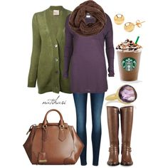 """""""Plum and Olive Fall Outfit"""" by natihasi on Polyvore"""