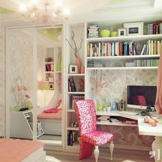 Admirable Teenage Girls Room Design Inspirations : Beautiful Wall Decor Teenage Girls Room with Curve White Study Desk and Pink Flower Patterned Chair