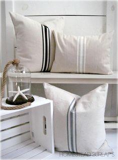 French Grainsack Canvas Pillow / Nautcial by HomesteadBurlaps
