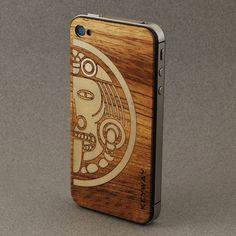 Teak BackBoard, iPhone Skin with inlaid Maple Aztec Art