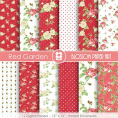 Red Rose Digital Paper Floral Scrapbook Digital by blossompaperart