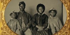 This rare ambrotype photograph of an African-American soldier shows him seated with his family during the American Civil War. (Library of Congress/MCT)