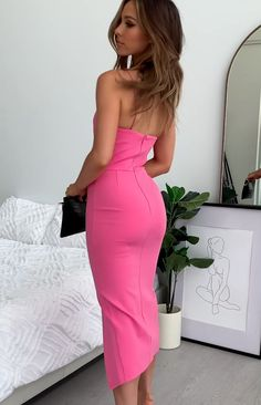 You'll turn heads in this stylish midi dress which features an asymmetrical bust, defined waist and leg split. Style it with nude heels and silver earrings to look a million dollars at your next event. Satin Dresses, Sexy Dresses, Cute Dresses, Beautiful Dresses, Evening Dresses, Fashion Dresses, Pink Dresses, Classy Dress, Classy Outfits