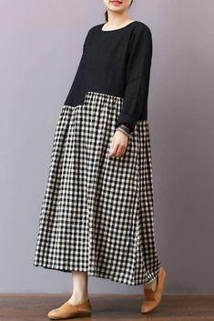 FantasyLinen Casual Loose Plaid Dress, Linen Literary Maxi Dress For Spring Q3010
