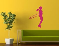 Housewares Wall Vinyl Decal Sport People Girl Jumping with a Skipping Rope At…