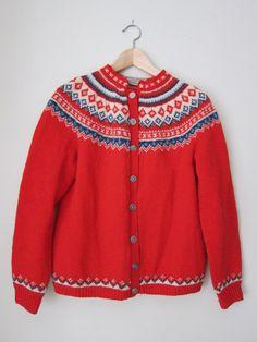 Vintage Norweigan Wool Fair Isle Cardigan