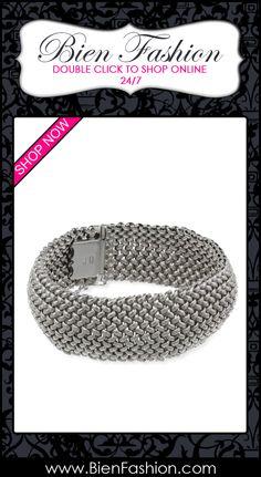 Bold Bracelets | Bold Jewelry | Chunky Jewelry | Fashion Accessories | Bien Fashion | Bien | Fashion | BF | Chunky Bracelets | Pulseras | Pulceras | Comprar Ahora | SHOP NOW ♥ Sterling Silver Italian Rhodium Plated Bombay Mesh Bracelet $229.00