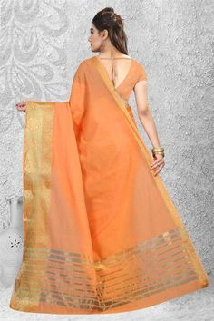 Shop orange color cotton and silk saree collection with weaving work, designer wedding sarees for womens. Grab this Cotton and silk fabric saree. A leading online sarees store offers designer sarees. Grab this stylish orange color trendy saree for ceremonial, festival and party.