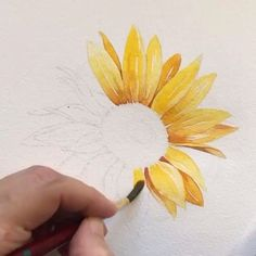 easy-watercolor-painting-ideas-for-beginners Best Picture For my ideas diy For Your Taste You are looking for something, and it is going to tell you exactly what you … Sunflower Sketches, Sunflower Drawing, Watercolor Sunflower, Sunflower Art, Easy Watercolor, Watercolor Flowers, Painting & Drawing, Watercolor Paintings, Watercolors