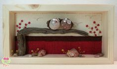 3D picture with two cute owls in love on a tree #pebbleart #3d #3dart #owls #stones #rock #handmade #green  #cute #owl #driftwood #picture3d #etsy #love #lovers #red #spring