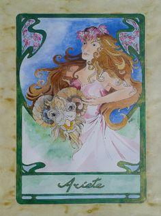 Dipinto eseguito a mano acrilico acquerellato su carta soggetto segno zodiacale ARIETE formato 30 cm x 42 cm. Tecnica: Penna, Acrilico e Acquerello.