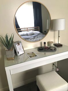 Elegant, minimal, and bright with a hint of midcentury modern, this vanity (including accessories) was created for under Built In Dressing Table, Dressing Table Organisation, Dressing Tables, Dressing Table Modern, Ikea Malm Dressing Table, Elegant Home Decor, Elegant Homes, Room Ideas Bedroom, Bedroom Decor