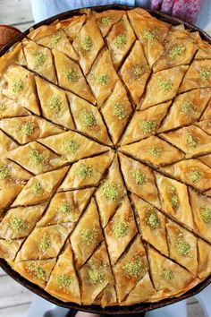 This will be the easiest Baklava recipe you'll come across. It's flaky, chewy, nutty and yummy; just giving you a warning, you might have trouble observing a Albanian Recipes, Bulgarian Recipes, Lebanese Recipes, Turkish Recipes, Greek Recipes, Albanian Food, Middle Eastern Desserts, Greek Desserts, Arabic Food