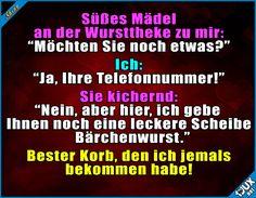 Ich will jetzt immer Bärchenwurst!  Lustige Sprüche #flirten #1jux #Sprüche #Jodel #Korb #Bärchenwurst #lustigeSprüche #lustigeBilder