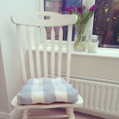 Sunday project. Old chair found at the side of a road upcycled with Annie Sloan chalk paint from @MOSS COTTAGE and finished off with Laura Ashley cushion.