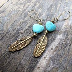 Native American Style Heart Earrings Antiqued by SierrasSunshine, $13.75