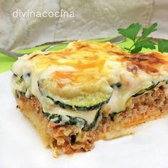 Moussaka de calabacín < Divina Cocina Delicious Vegan Recipes, Vegetarian Recipes, Cooking Recipes, Healthy Recipes, Quiches, Good Food, Yummy Food, Spanish Dishes, Gratin