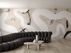 Organic white waves and textured black brush strokes against a tan wall Interior Wallpaper, Modern Wallpaper, Designer Wallpaper, Contemporary Wall Paint, Contemporary Interior Design, Interior Modern, Cheap Wall Decor, Cheap Home Decor, Wall Painting Decor