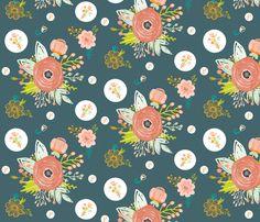 Teal Blue Spring Blooms fabric by hudsondesigncompany on Spoonflower - custom…