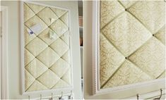 Tufted Memo Board, You will need frame, wood, batting, fabric, ribbon, and nail heads to make this pretty memo board.
