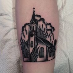 Burning church by Josh Todaro (@ josh_todaro) - Tattoos Pictures Dope Tattoos, Badass Tattoos, Black Tattoos, Body Art Tattoos, Sleeve Tattoos, Fire Tattoo, Metal Tattoo, Church Tattoo, Tattoo Catalog