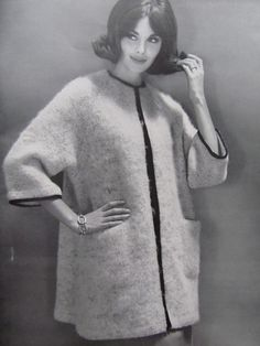 1960's Knitting PDF Patterns, Vintage Pattern Women's Sweater Coat Pattern 6715