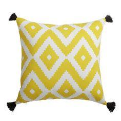 Coussin en coton jaune/blanc 45 x 45 ...