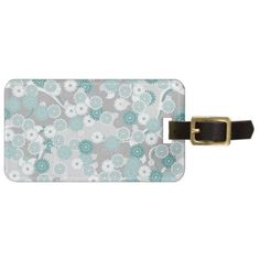 Pretty Abstract Floral Pattern in Teal and Grey Luggage Tag