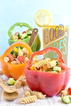 Add a fun flair with your Summer Veggie Pasta Salad by placing them into bell pepper buckets. Veggie Pasta, Pasta Salad, Lentil Pasta, Fusilli, Crispy Oven Fried Chicken, Tomato Cream Sauces, Pan Seared Salmon, Skirt Steak, Fries In The Oven