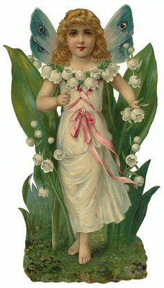 Victorian Die Cut of Flowers Fairy - lilies of the valley