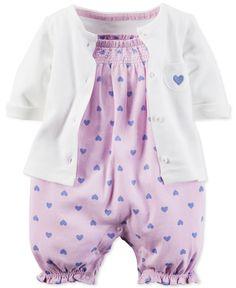 Carter's Baby Girls' 2-Piece Heart-Print Romper & Cardigan Set