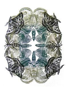 Moth repeat by British artist & printmaker Amanda Colville of Mangle Prints. via Mangle Prints