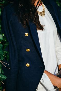 Navy blazer with gol