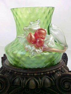 Antique Bohemian Kralik Iridescent Green Art Glass Vase w Applied Red Berries