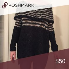 Free People off the shoulder sweater Warm off the shoulder knit sweater. In good condition. Free People Sweaters Cowl & Turtlenecks